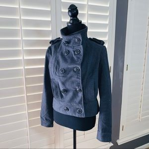 Gray Wool Military Style Jacket M